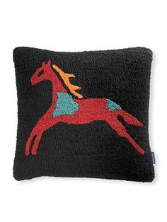 """CELEBRATE THE HORSE HOOKED PILLOW A single, stunning, equine image on black commands attention on this hand-hooked pillow. The design takes its inspiration from our Celebrate the Horse Legendary blanket. Feather fill, zipper closure. Front is pure wool; back is black cotton velvet. Dry clean. Imported. 18"""" x 18""""."""