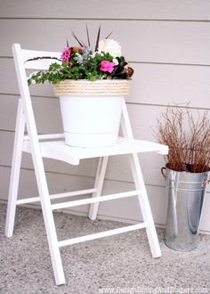 I have some ugly & unused wooden chairs that will definitely be getting a face lift soon. AND some flower pots (hello, more spray paint!)