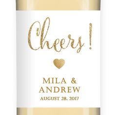 """Mila"" White   Gold Glitter Wedding Wine Label from Digibuddha"
