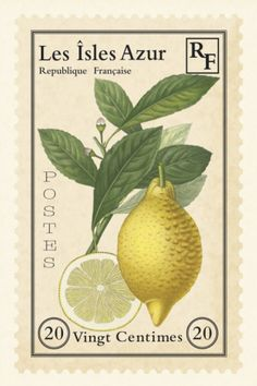 Lemons. French Stamp from Les Isles Azur