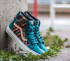 9a6384f26b38 Vans Sk8 Hi Zip CA Italian Weave Pig Suede Atlantic Blue Shoes Mens 7.5 NEW