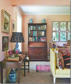 House & Gardens:  this shows the prints have been changed and are now part of a collection of ferns which also hang in his London apartment.