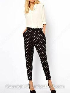 Black Polka Dot Pockets Casual Pant -$23.49