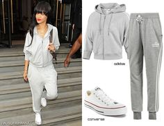 Rihanna in Adidas cropped hoodie, Adidas track pant, and white Converse oxfords White Converse Outfits, Adidas Cropped Hoodie, Dressed To Kill, Classic White, Zip Hoodie, Rihanna, Hoodies, My Style, Casual