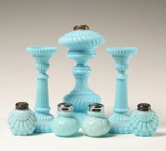 Blue: Milk glass candle holders, oil lamp base, salt and pepper shakers. Amazing vintage table set.