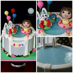 Dora the Explorer cake Pool Cake, Baby Girl Cakes, Dora The Explorer, Fancy Cakes, Swimming Pools, Desserts, Cake Photos, Food, Birthday Cakes