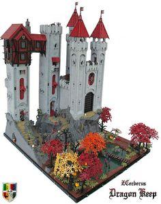 Dragon Keep - gorgeous! Lego Burg, Amazing Lego Creations, Lego Construction, Lego Castle, Lego Design, Lego Architecture, Lego Models, Lego Projects, Lego Moc