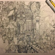 This epic #WIP shot of a #fantasy #illustration by Sean Andrew Murray (@seanandrewmurray)  of a bustling commercial square is made even more epic (to us at Airship anyway) by the fact that a decent portion of the inking that has been completed so far was done with a set of Airship Autoquill Fineliner pens!  In case youre new to our page and/or arent familiar with Seans work Sean is the creator of a mythic and expansive fantasy world known as The City of Gateway. I have been meaning to ask…