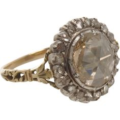 Olivia Collings Antique Jewelry Large Center Cluster Diamond Ring ($22,515) ❤ liked on Polyvore featuring jewelry, rings, accessories, antique diamond jewelry, antique jewellery, antique rings, cluster ring and diamond cluster ring