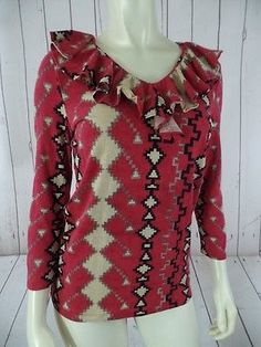 RALPH LAUREN Top M Cotton Modal Knit Pullover Red Southwestern Tribal Ruffle HOT