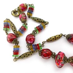 Vintage Art Deco Bohemian Cranberry Pink Foil Filigree Glass Bead Necklace
