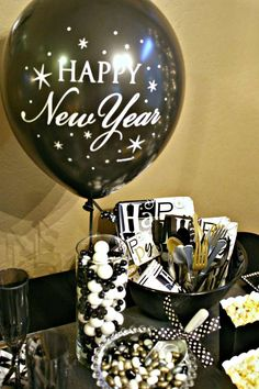 Black and gold New Year's party! See more party ideas at CatchMyParty.com!