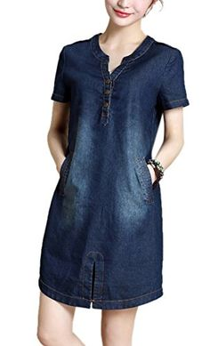 Allbebe Womens Loose Vneck Short Sleeves Denim Midi Dress L Blue -- You can get additional details at the image link. Summer Dresses 2017, Summer Dresses For Women, 2017 Summer, Denim Midi Dress, Denim Dresses, Denim Fashion, Fashion Outfits, Short Women Fashion, Mode Hijab