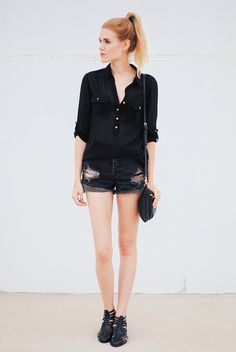 Black summer: denim cutoffs and over sized blouse. Via Love, Blair: black monday.