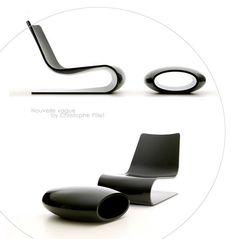 Chaise longue et repose-pied Disponibles en blanc craie, noir et rouge chine Edités par PORRO Plus d'infos sur www.porro.com