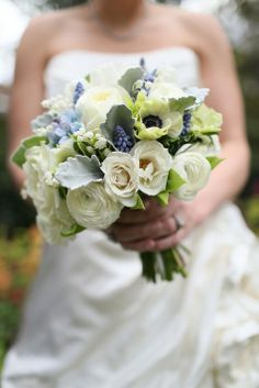 Beautiful white and blue wedding bouquet |  The Connelleys Photography