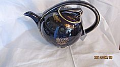 Cobalt Hall Teapot With Gold Trim