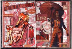 Gluebook color-themed spread using handmade, scrapbook, magazine and collected/gifted ephemera papers, stamps, stickers. Finished this in order to enter February's 50 Shades of Red challenge at Art Journal Journey. Art Journal Prompts, Art Journal Techniques, Journal Pages, Art Journals, Junk Journal, Journal Ideas, Bullet Journal, Notebook Collage, Shades Of Red