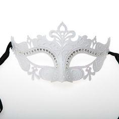 White Venetian Jeweled Half Mask. $12.95