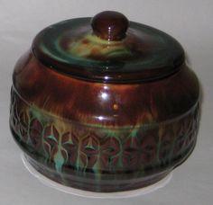 1 of 7: UNIQUELY Glazed JAR Pot w/LID Vintage CANADIAN CERAMIC CRAFT Pottery