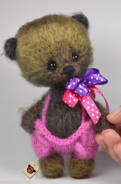 Miniature gift handmade thread artist crochet brown khaki teddy bear OOAK