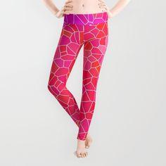 Mosaic Pink Leggings #society6 #pinkleggings #leggings #mosaic #purple #magenta #hotpink