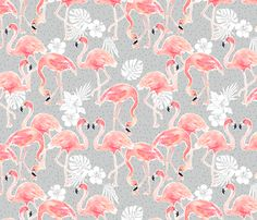 Tropicana Flamingo (grey) fabric by nouveau_bohemian on Spoonflower - custom fabric