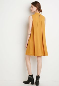 Contemporary Pleated Trapeze Dress | LOVE21 - 2000142853(25)
