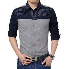 Kaiqifashion-brand-men-dress-shirt-casual-camisa-masculina-cotton-long-sleeves-fashion-patchwork-new-style-dot.