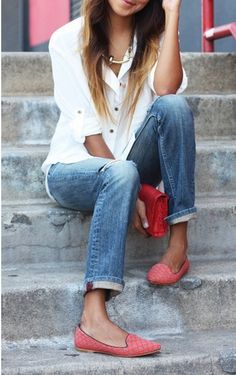 Great salmon flats with light jeans and classic white shirt.