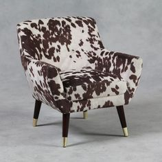 Modern Retro White and Brown Faux Cowhide Fabric Retro Armchair Cowhide Furniture, Cowhide Chair, Cool Furniture, Cow Rug, Cowhide Fabric, Retro Armchair, Chaise Sofa, Modern Retro, Accent Chairs