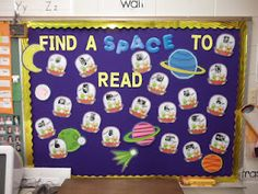 Space theme bb Space Theme Classroom, Classroom Money, 3rd Grade Classroom, Preschool Classroom, Preschool Crafts, Classroom Decor, Kindergarten, Space Bulletin Boards, Reading Bulletin Boards