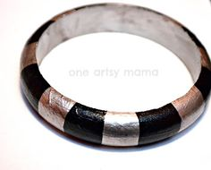 How to create a striped metallic wood bangle by One Artsy Mama