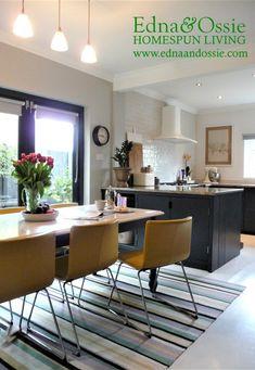 Kitchen diner.  See blog for full details - painted Ikea Hyttan kitchen doors, quartz dining table.
