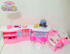 Amazon.com: Barbie Size Dollhouse Furniture - Ice Cream & Candy Shop Play Set: Toys & Games