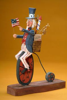 Uncle Sam folk art wood carving