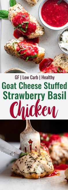Goat Cheese Stuffed Strawberry Chicken - This Strawberry Chicken is stuffed with goat cheese and is an easy healthy Summer dinner for the whole family! High protein and gluten free too! | #Foodfaithfitness | #Glutenfree #Healthy #Goatcheese #strawberry
