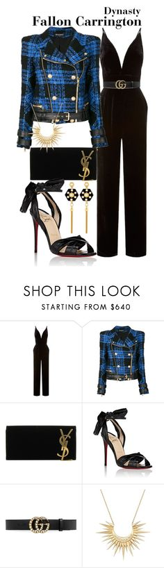 """Dynasty"" by sparkle1277 ❤ liked on Polyvore featuring La Mania, Balmain, Yves Saint Laurent, Christian Louboutin, Gucci, Celine Daoust and Henri Bendel"