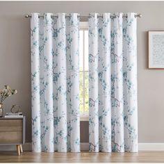 Dorcia Jasmine Faux Silk Floral Max Blackout Thermal Grommet Curtain Panels