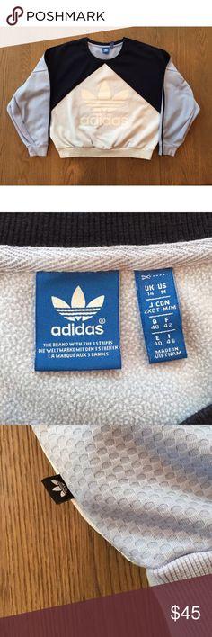 Adidas logo crewneck sweatshirt size M Light blue, black, and white with mesh imprinted pattern crewneck sweatshirt. Adidas Sweaters