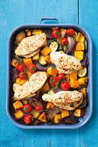 The Hairy Dieters' easy chicken bake recipe - Site Title Baked Chicken Recipes, Veg Recipes, Cooking Recipes, Healthy Recipes, Healthy Meals, Healthy Chicken, Healthy Cooking, Healthy Food, 600 Calorie Meals