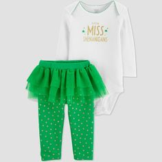 Baby Girls  St. Patricks Day Little Miss 2pc Tutu Set - Just One You made  by carter s Green White Newborn 43a4299671b4