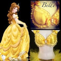 Belle Beauty in the Beast 2 Piece Set by ElectricAveCreations Disney Bound Outfits, Rave Outfits, Disney Princess Warriors, Unique Halloween Costumes, Halloween Ideas, Beyond Wonderland, Bras Best, Rave Costumes, Belle Beauty And The Beast
