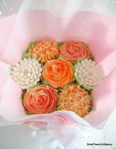orange cupcake bouquet