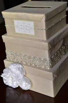DIY Wedding Card Box - I would do ivory and coral, but think its a very elegant and EASY to make and transport. Different than the mailbox we always do.