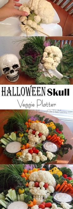Halloween Veggie Platter - Cauliflower Skull | Vegan Halloween | Scary Veggie Platter | Skull Veggie Platter