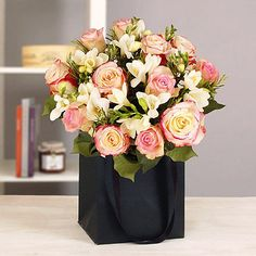 Rose and Freesia Gift Bag Bouquet With Free Express Delivery - From Lakeland http://www.lakeland.co.uk/search/flowers/c01.r38.1?arc=pinit