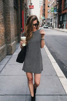 The striped dress by nrfb outfit стиль, одежда. Style Outfits, Cute Outfits, Fashion Outfits, Womens Fashion, Style Fashion, Fashion Design, Ensembles Outfit, Dress Outfits, Cute Dresses