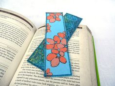 Cotton Bookmark  #coral blue green violets by eyespotdesigns, $8.00