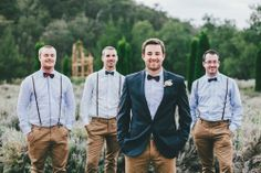Money Saving Tip: Only have the groom wear a full suit (unless the bridal party already owns matching suits). Ex- Smart casual bow tie groom fashion.